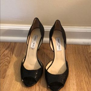 Jimmy Choo 3 inch black sparkle heels.